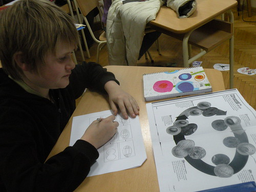 6A student Conor draws the steps of cell division (mitosis) in science class
