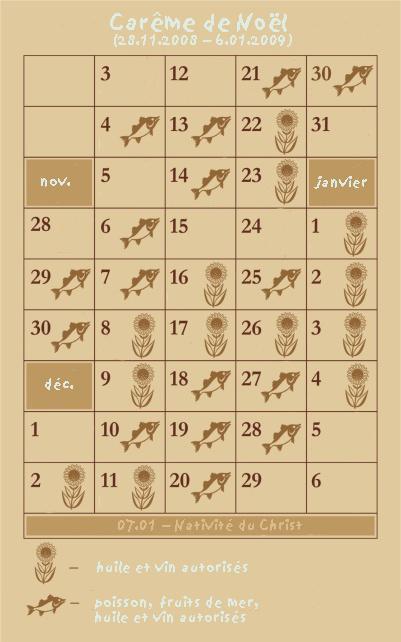 calendrier alimentaire du carême de la Nativité