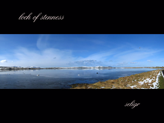 panorama #3 - loch of stenness (seligr) Tags: blue sky snow ice water birds clouds reflections scotland spring orkney stenness panoramas swans hoy vistas videos lochs