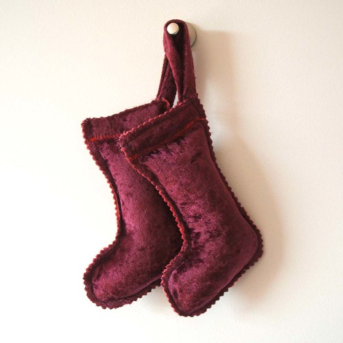 maroon velvet Christmas stocking