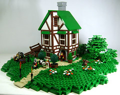 Harry finds a home (temporarily) (DARKspawn) Tags: house building castle home landscape lego harold medieval tudor