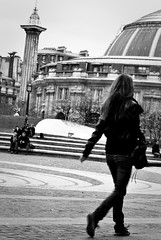Failure is a chance to do it all over again. This time the right way. ([Naro]) Tags: blackandwhite bw woman paris france girl walking place noiretblanc femme streetphotography nb marche leshalles chatelet française bourseducommerce pariscentre stphotographia