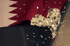 Wallah A7bich Ya Qatar  (Antiquish) Tags: white silver happy day heart maroon dec national 12 18 2008 ya doha qatar   blady a7bich  qatarflag g6r  antiquish hawaalrayyanfav