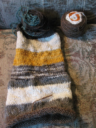 In progress: handspun tube scarf