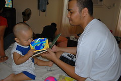 Reading his Lift-the-flap Book (Alpha, how much lahat-lahat?)