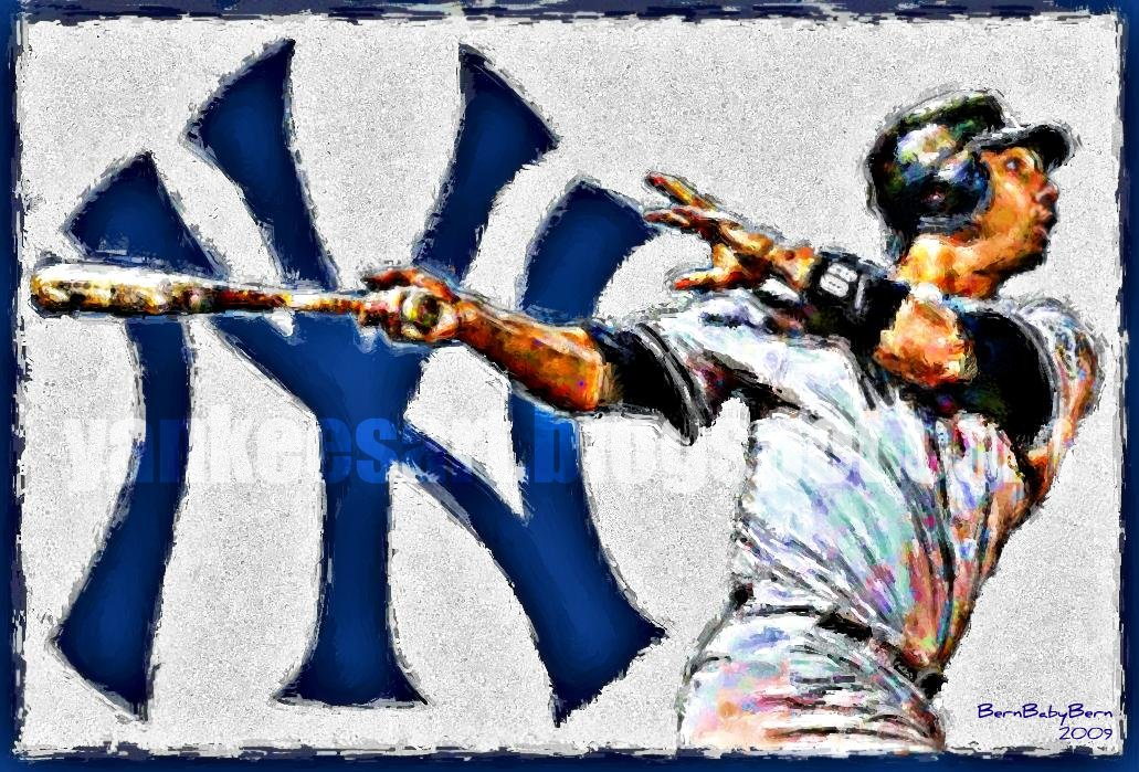 Jorge Posada painting, World Champion New York Yankees digital art