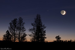 The dark side of the moon (Dylan MacMaster) Tags: trees sunset sky moon silhouette night stars twilight montana fotocompetitionbronze fotocompetitionsilver fotocompetitiongold