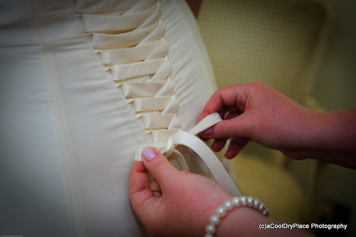 Dress being tied up