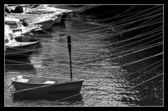 Row boat (Diamanx) Tags: blackandwhite wales boat harbour rowing oar ropes tenby
