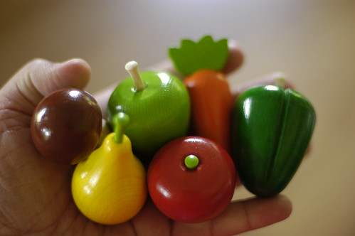 tiny wooden vegetables