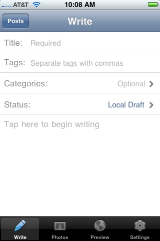 WordPress For iPhone New Entry Screen