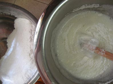 Mixing in the sugar, salt, and flour