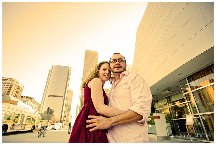 skyline downtown la e session engagement photo shoot wedding escalator flare 2 walt disney concert hall wells fargo center los angeles grand ave tom bradley