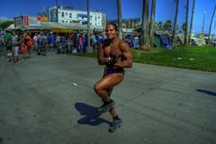 Man with a 10lb Steel Ball (Floyd's Noise) Tags: ocean california street sea beach sand colorful character venicebeach speedo performer hdr musclebeach panhandle