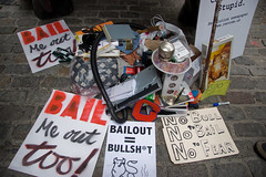 Distressed Assets aka the Shitpile (Lindsay Beyerstein) Tags: newyork color bush peace action outdoor manhattan protest peaceful bull demonstration wallstreet financial codepink economy liberal crisis mortgage bailout agitpop subprime 700billion