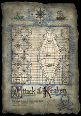 Kraken CP (Chosetec) Tags: monster painting paper boat artwork origami pattern ship treasure map drawing squid pirate folded drawn crease kraken