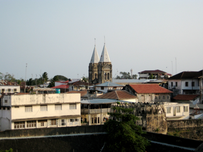 Stonetown roofscape: the towers in the background are a Catholic cathedral -several major religions are represented here