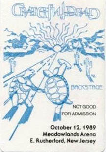 Grateful Dead backstage pass for 10/12/89 Brendan Byrne Arena a.k.a. Meadowlands Arena
