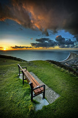 Can't be standing up here in the cold when there's footie on the telly - I'm gone ! (petervanallen) Tags: sunset beach portland landscape coast nikon seat dorset vignette hdr jurassic chesil jurassiccoast d90 sigma1020 3exp