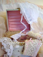 collar box with laces, bonnet, crystals (skblanks) Tags: pink baby white vintage ribbons aqua box lace antique crochet cottage victorian silk romantic chic cuff collar bonnet lining shabby celluloid ecru gathers