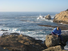 writing in my journal at Point Lobos (ledges) Tags: abby pointlobos williamscollege williamsmysticfall2008