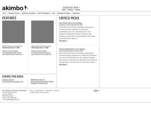 Akimbo Website - High Fidelity Wireframe