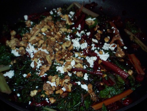 swiss chard with goat cheese and walnuts