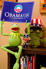 2008 Election Celebration (JasonCross) Tags: sign toys election presidential frog explore transformers optimus uglydoll muppet vote 2008 poe obama kermit presidentialelection optimusprime kermitthefrog 2008election canon40d optimusmagnus