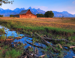 Stream at Moulton (Jeff Clow) Tags: ranch morning barn rural landscape stream farm wyoming grandtetonnationalpark mormonrow jeffclow jacksonholewyoming moultonbarn antelopeflatsroad ©jeffrclow