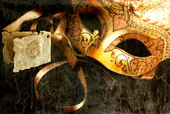 The Eyes of Venice (Relucesco22) Tags: mask venice venetian relucesco22 kara stilllife ribbon tag masquerade sony a300 oldworld venezia italy italian handmade dreamy beautiful fantasy