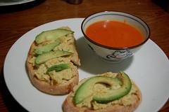 Dinner: Vegan tuna salad sandwich with soup
