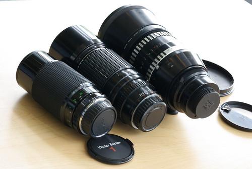 Vivitar Series 1 70-210mm f/3.5 Tokina, Pentax 300mm f/4.0, Carl Zeiss 180mm f/2.8 (M42)