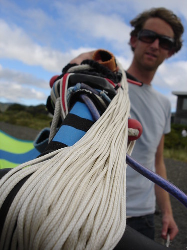 Matt Chernishov and his kite surfing kite in Wellington, New Zealand