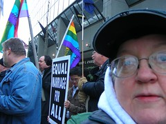 Mel at Anchorage protest of Californias Prop 8, 15 Nov 2008