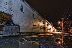 Alley behind town square (Zach Bonnell) Tags: night newfoundland canonxt townsquare gander canon430ex tamron1750