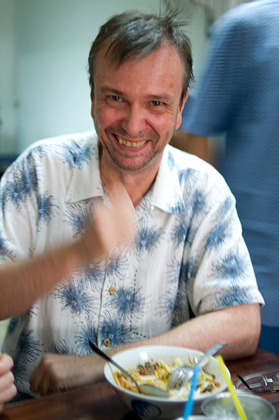 Author David Thompson eating khao soi at Kuaytiaw 12 Panna, Bangkok