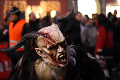 Devil Mask from Perchtenlauf, Graz (theowl84) Tags: street city november red people brown white man black color halloween public face animal night fur fun person skull austria hurt scary blood mask head teeth crowd sharp explore event fantasy angry satan horror devil beast horn graz perchten perchtenlauf scars styria krampus cruel canonef50mmf14usm 400d perchta
