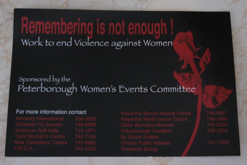 December 6 - Remembering is Not Enough - Work to End Violence Against Women