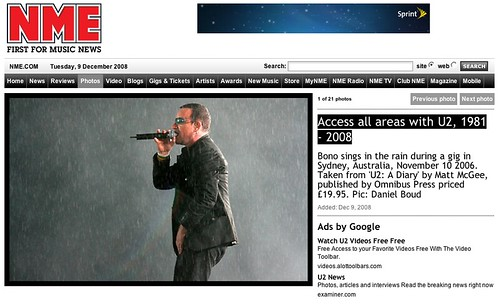 NME features U2 - A Diary