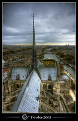 Notre Dame, View over the Seine, Paris, France :: HDR (Erroba) Tags: blue roof sunset sky orange paris rooftop church water yellow seine photoshop canon rebel cathedral tripod gothic sigma notredame tips remote 1020mm erlend hdr birdseye cs3 3xp photomatix tonemapped tonemapping xti 400d erroba robaye erlendrobaye