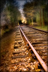 The right side of the tracks... (Jacqueline Harte) Tags: lines ahead bend tracks railway clear rails curve sleepers superaplus aplusphoto visiongroup jacquelineharte damniwishidtakenthat