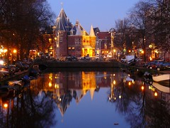 Waag at night, Amsterdam (repost) (http://stephrando.fr.cr) Tags: city urban holland reflection water netherlands amsterdam night panasonic waag nieuwmarkt redlightdistrict ville dmc urbain goldenglobe abigfave goldstaraward glodenglobe rubyphotographer
