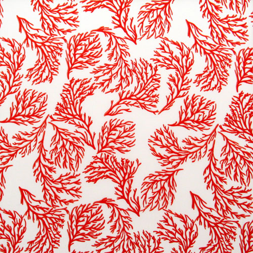 red and white coral silk print