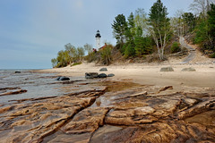 Spring Time - Au Sable Point Lighthouse - Pictured Rocks National Lakeshore (Michigan Nut) Tags: usa reflection spring sandstone path steps wideangle lakesuperior picturedrocksnationallakeshore michiganlighthouses ausablepointlighthouse grandmaraismichigan june2011 michigannutphotography nikon1635mmf4gedafsvrwideanglezoomlens