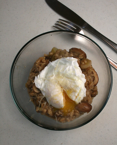 Mushroom and Leek Barley Risotto with Poached Egg