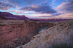 Navajo Bridge, Marble Canyon, Colorado River, Grand Canyon, Arizona (Kaldoon) Tags: bridge sunset arizona usa southwest west clouds america canon river landscape utah 2470mml ut aperture colorful stream footbridge grandcanyon nevada rocky az landmark canyon cliffs nv coloradoriver northamerica 5d marble navajo westcoast tiff leesferry marblecanyon navajobridge americansouthwest historicmonument historiclandmark arizonasunset coconinocounty 3exp touristatraction grandcanyonbridge navajosteelarchhighwaybridge arizonamonument kaldoon canyonsunset americasbridges arizonabridges grandcanyonbackground grandcanyondesktop grandcanyonwallpaper