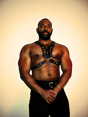 Harness - NYC 1998 (kchbrown) Tags: portrait man male leather beard piercing harness ricohrdc300 photobymc 2008 1998photo flickr:user=michaelchristopher fanscreamandcolllapseii picksupfanandadminstersmouthtomouth