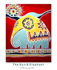 The Sun & Elephant (Thushan S. Withana-Gamage) Tags: sun elephant calgary painting asian bravo asianelephant sanjeewa magicdonkey thushan aplusphoto anelephant srilankanarts kumudu thushansanjeewa