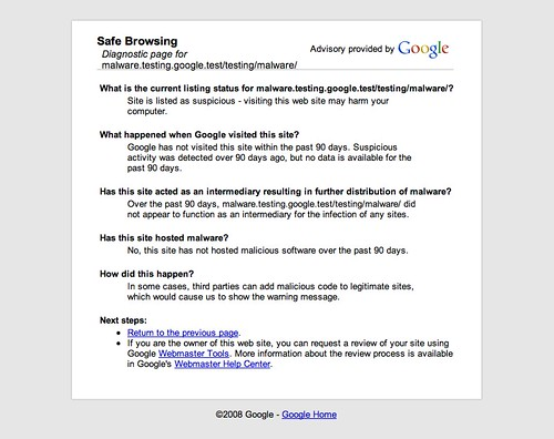 Google Safe Browsing diagnostic page for malware.testing.google.test-testing-malware- (20080523)