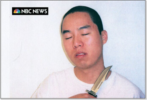 Image of Cho Seung-Hui with a knife to his own throat